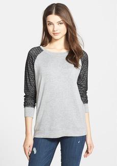 kensie Crochet Sleeve Drapey French Terry Sweatshirt