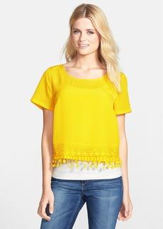 kensie Crochet Trim Crepe Crop Top