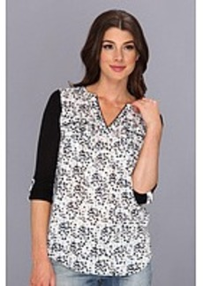 kensie Cut Out Dots Top