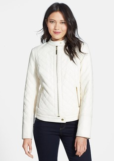 kensie Diamond Quilted Faux Leather Moto Jacket (Online Only)