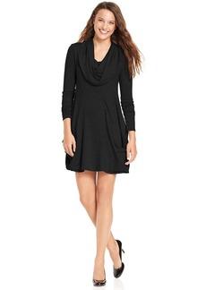 kensie Dress, Long-Sleeve Cowl-Neck A-Line
