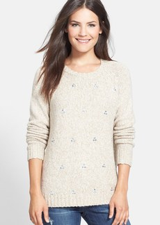 kensie Embellished Mixed Yarn Sweater