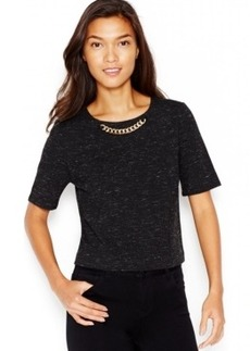 kensie Embellished Short-Sleeve Top