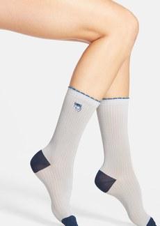 kensie Embroidered Animal Crew Socks