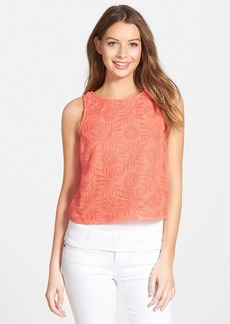 kensie Embroidered Lace Crop Top