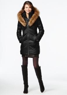 kensie Faux-Fur-Trim Shawl-Collar Quilted Coat