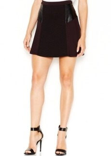kensie Faux-Leather Contrast Mini Skirt
