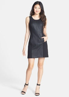 kensie Faux Leather Mixed Media Dress (Online Only)