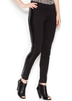 kensie Faux-Leather Panel Ponte Leggings