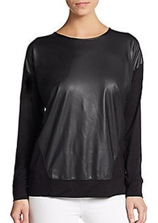 Kensie Faux Leather-Paneled French Terry Pullover