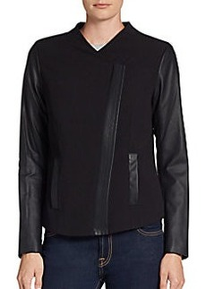 Kensie Faux-Leather-Sleeve Crepe Jacket