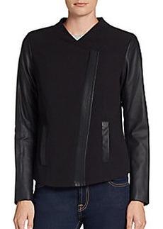 Kensie Faux-Leather-Sleeve Crepe Jacket