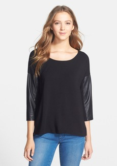 kensie Faux Leather Sleeve French Terry Top