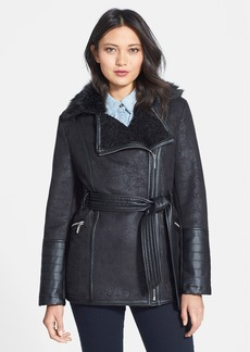 kensie Faux Shearling Belted Moto Jacket with Faux Fur Trim (Online Only)