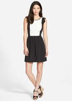 kensie Fit & Flare Crepe Dress with Lace Inset