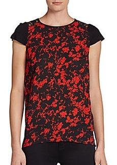 Kensie Floral-Print Lace-Back Tee