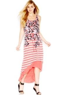 kensie Floral-Striped High-Low Dress