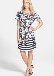 kensie 'Flowers & Stripes' Dress
