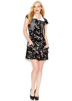 kensie Flutter-Sleeve Stand-Collar Abstract-Print Dress