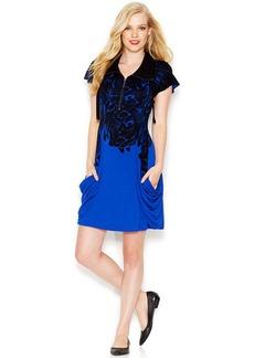 kensie Flutter-Sleeve Stand-Collar Banana-Print Dress