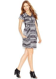 kensie Flutter-Sleeve Stand-Collar Printed Dress
