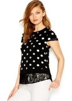 kensie Foil-Printed Lace-Trim Top