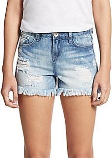 Kensie Frayed & Distressed Denim Shorts