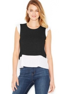 kensie French Terry Eyelet Contrast Top