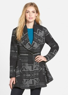 kensie Geo Pattern Shawl Collar Coat (Online Only)