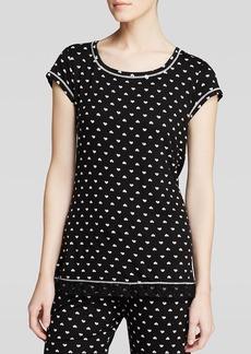 Kensie Heart Short Sleeve Pajama Top