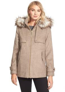 kensie Hooded Duffle Coat with Faux Fur Trim