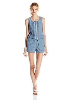 Kensie Jeans Women's Dobby Denim Chambray Jumper with Crochet Lace Detail