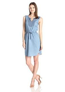 Kensie Jeans Women's Light Weight Denim Dress with Stripe Bib Combo