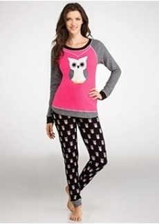 Kensie Keepin' Cozy Novelty Owl Thermal Pajama Set