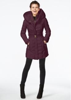 kensie Knit-Trim Quilted Coat