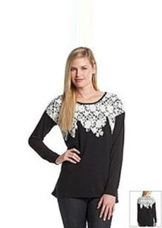 Kensie® Lace Applique Sweatshirt