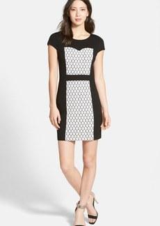 kensie Lace Inset Ponte Sheath Dress