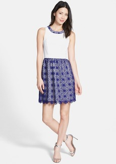 kensie Lace Overlay Fit & Flare Dress