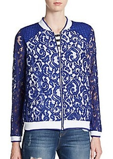 Kensie Lace Paneled Baseball Jacket