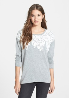 kensie Lace Print Drapey French Terry Sweatshirt