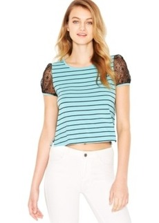 kensie Lace-Sleeve Striped Tee
