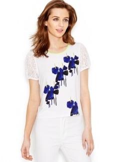 kensie Lace-Trim Floral-Print Top