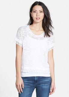 kensie Lace Trim Sheer Slub Knit Sweater