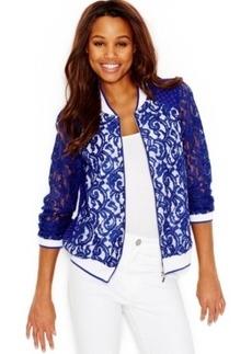 kensie Lace Varsity Jacket