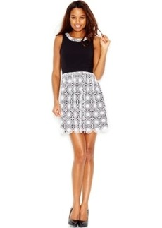 kensie Layered Lace A-Line Dress