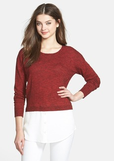 kensie Layered Look Mélange Knit Sweater