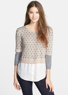 kensie Layered Look Speckled Mélange Sweater