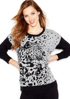 kensie Long-Sleeve Animal-Print Colorblocked Sweater