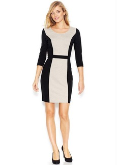 kensie Long-Sleeve Colorblocked Ponte-Knit Dress (Only at Macy's)