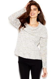 kensie Long-Sleeve Cowl-Neck Nep-Knit Sweater